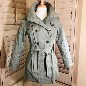 Thigh length khaki green trench coat